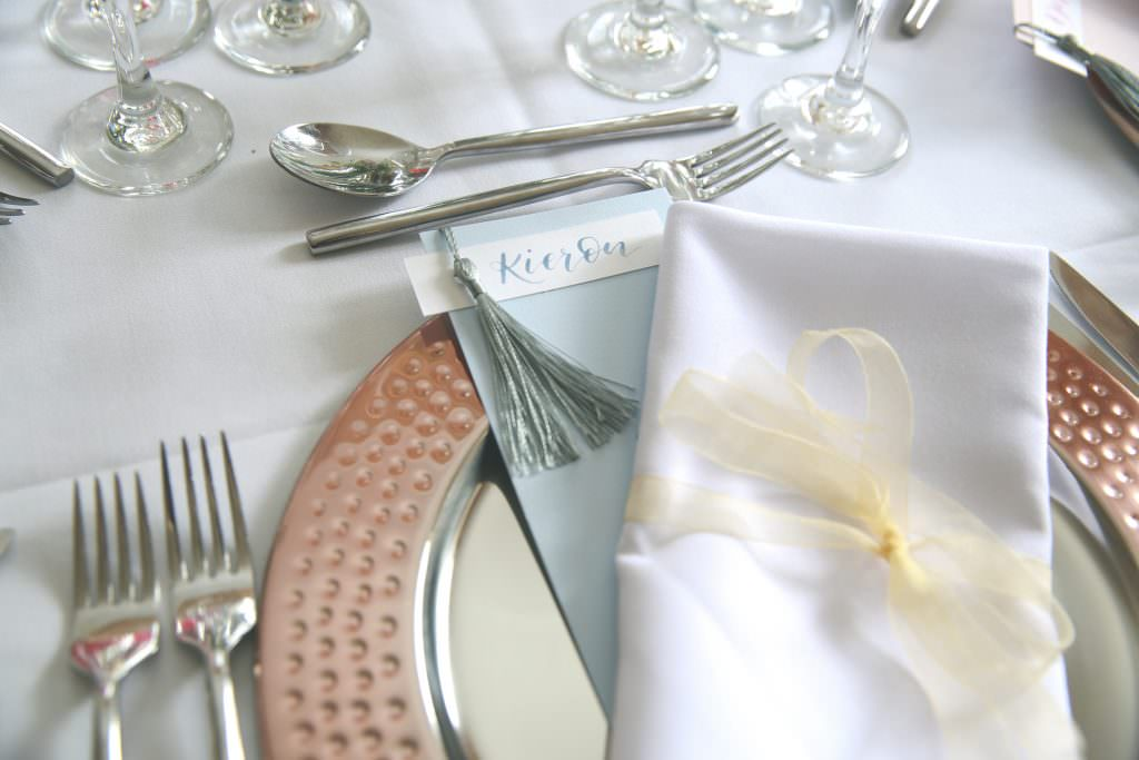individual place setting for wedding breakfast at the burhill