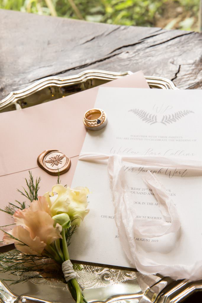 luxury wedding invitation with modern calligraphy
