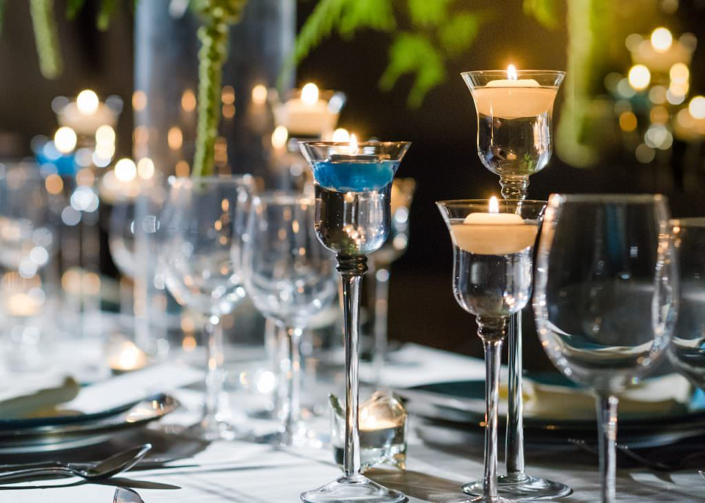 candlelight wedding reception at hotel wedding venue surrey