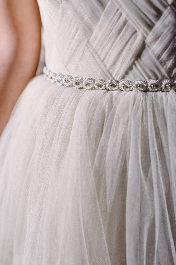 latticed details on tulle wedding dress