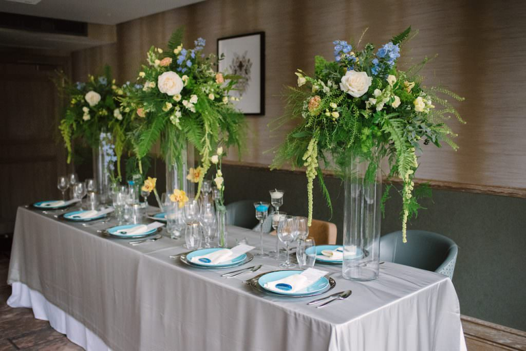 wedding reception tablescape with large wedding flowers
