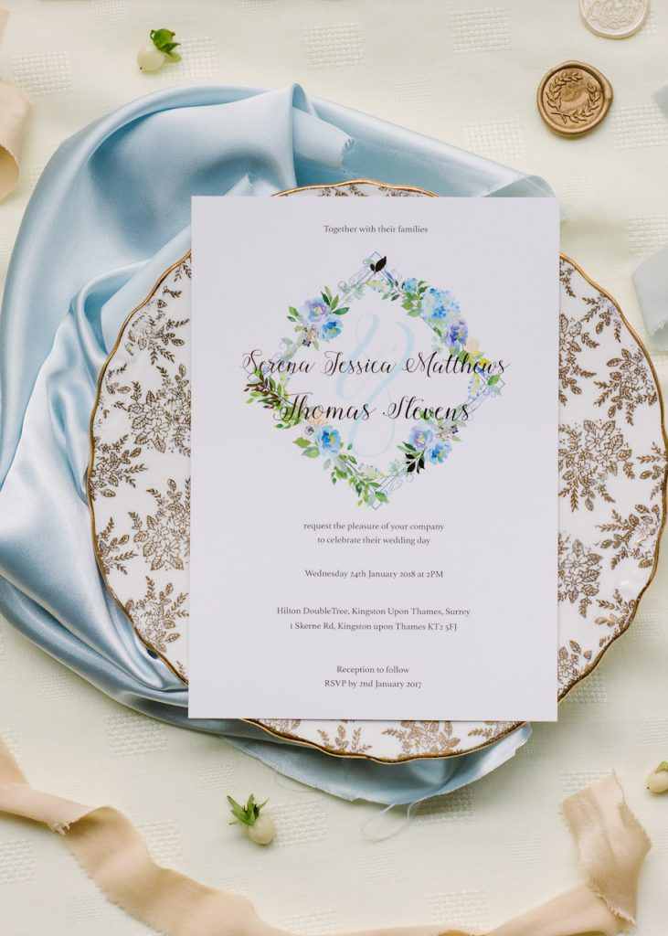 nature inspired menu card styled by Kimberley Rose Designs