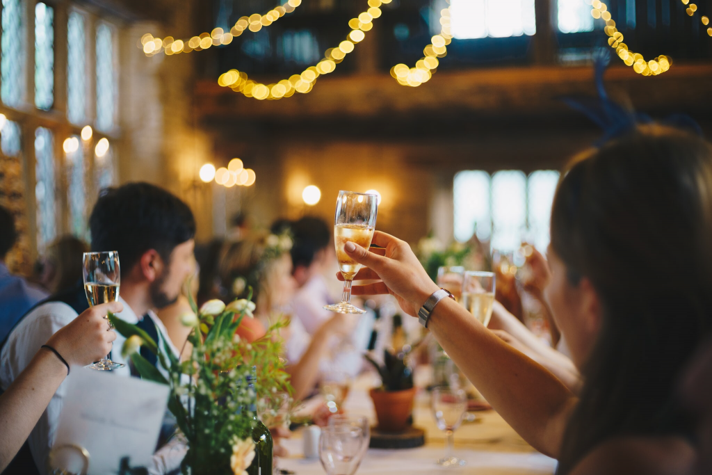wedding reception in a countryside barn