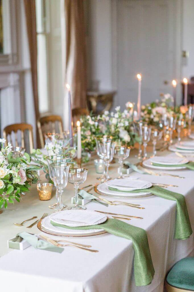 intimate wedding reception table setting designed by luxury wedding planner UK, Kimberley Rose Designs