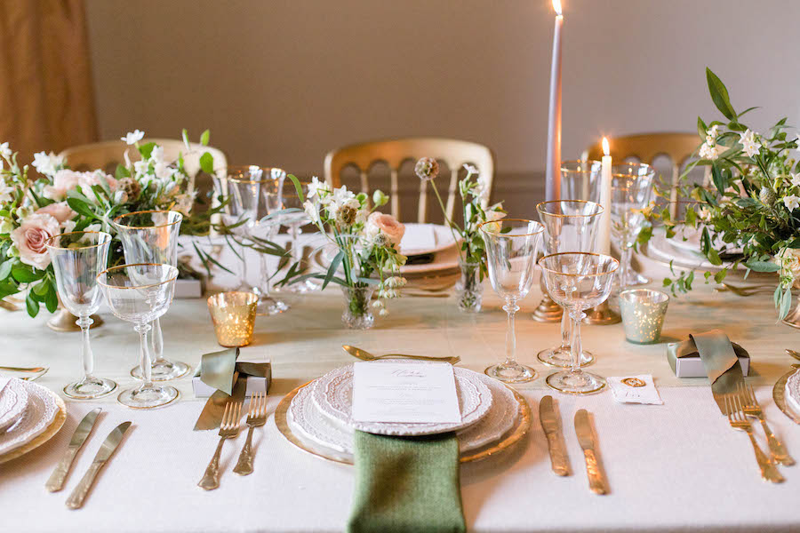 refined wedding table setting with candlelight