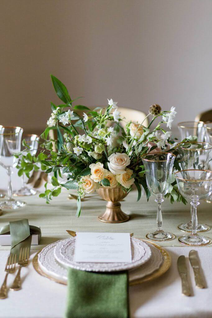 sage green table setting for wedding breakfast