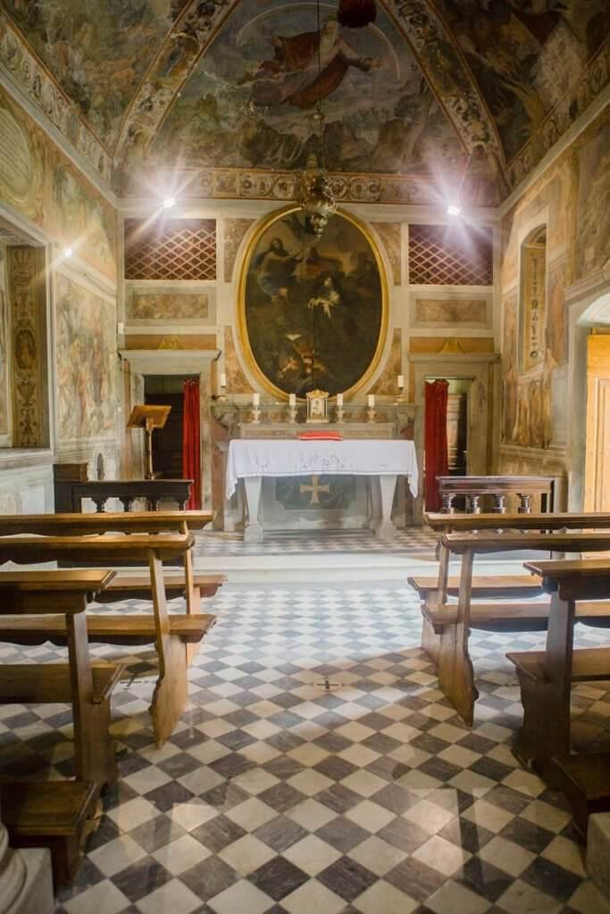 private chapel at villa pazzi tuscany wedding venue