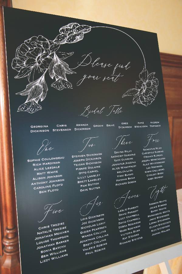 black and white seating plan for wedding reception