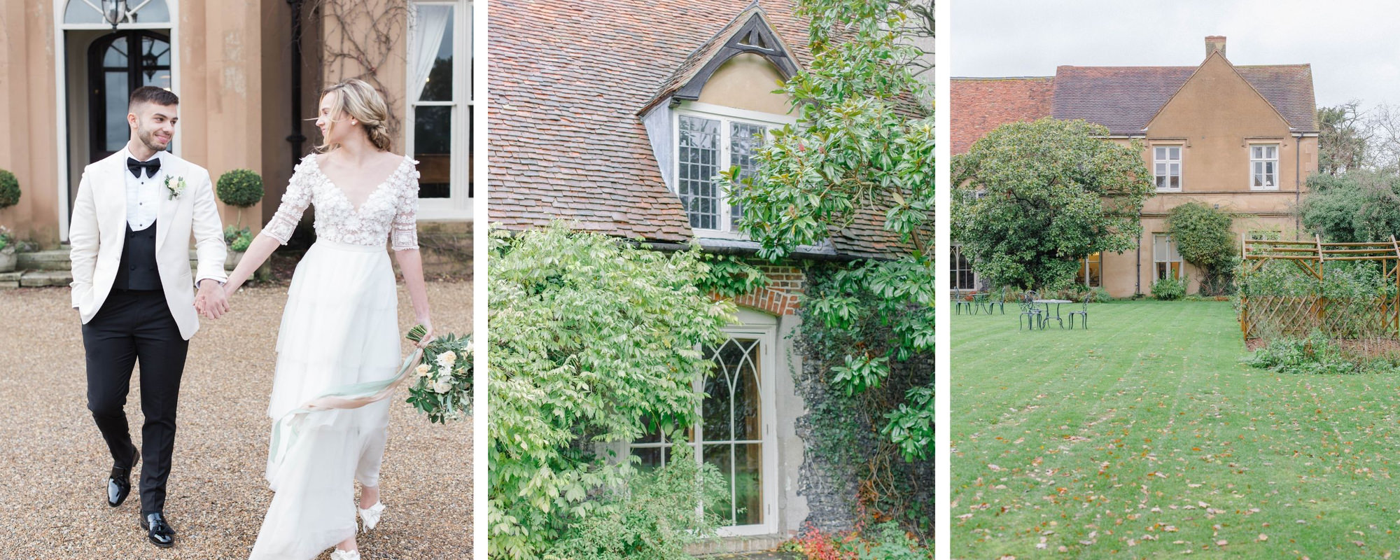 bride and groom at countryside wedding venue in Kent