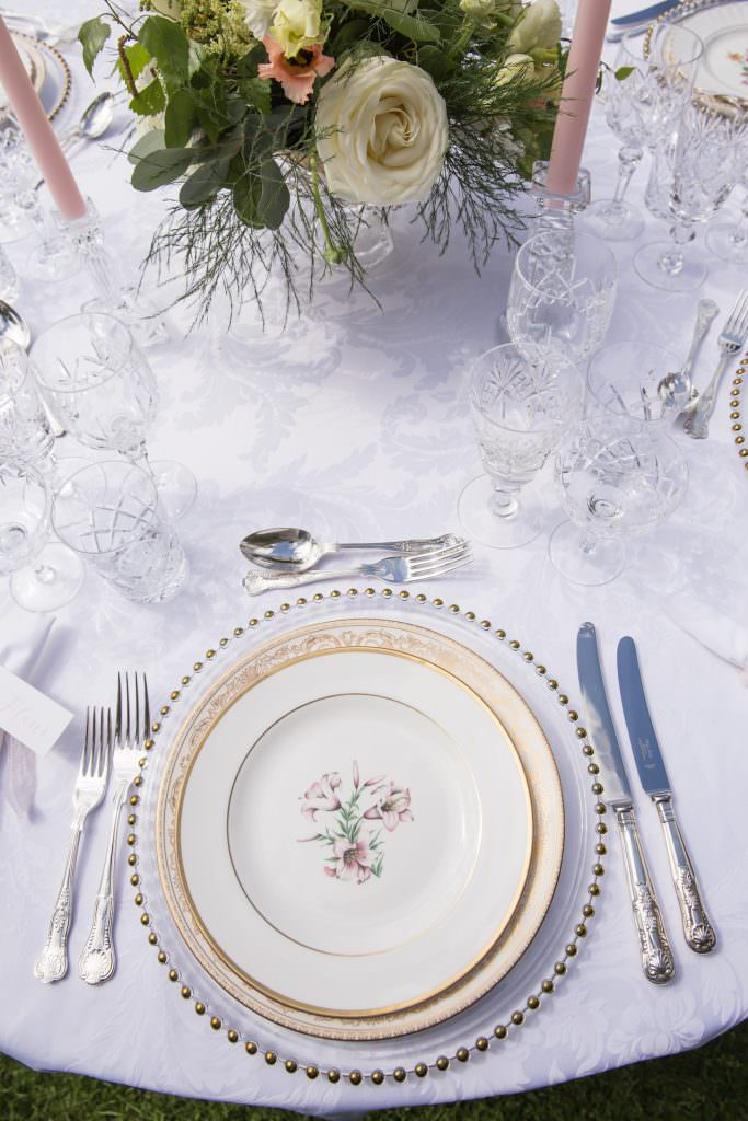 elegant downton inspired garden party tablescape styled by Kimberley Rose Designs at Nurstead Court