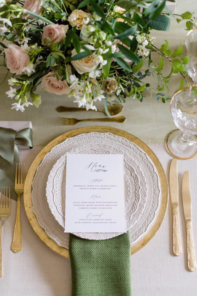 gorgeous green and gold wedding reception details designed by Kimberley Rose Designs