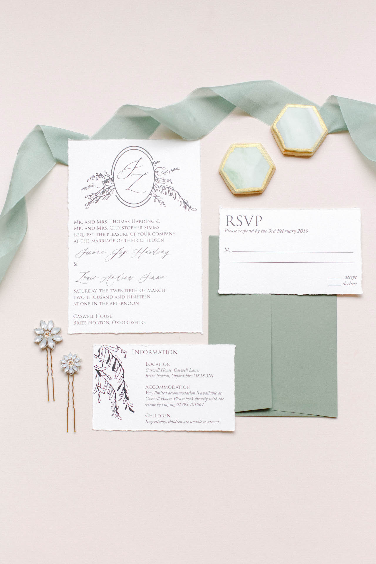 sage green and cream wedding stationery