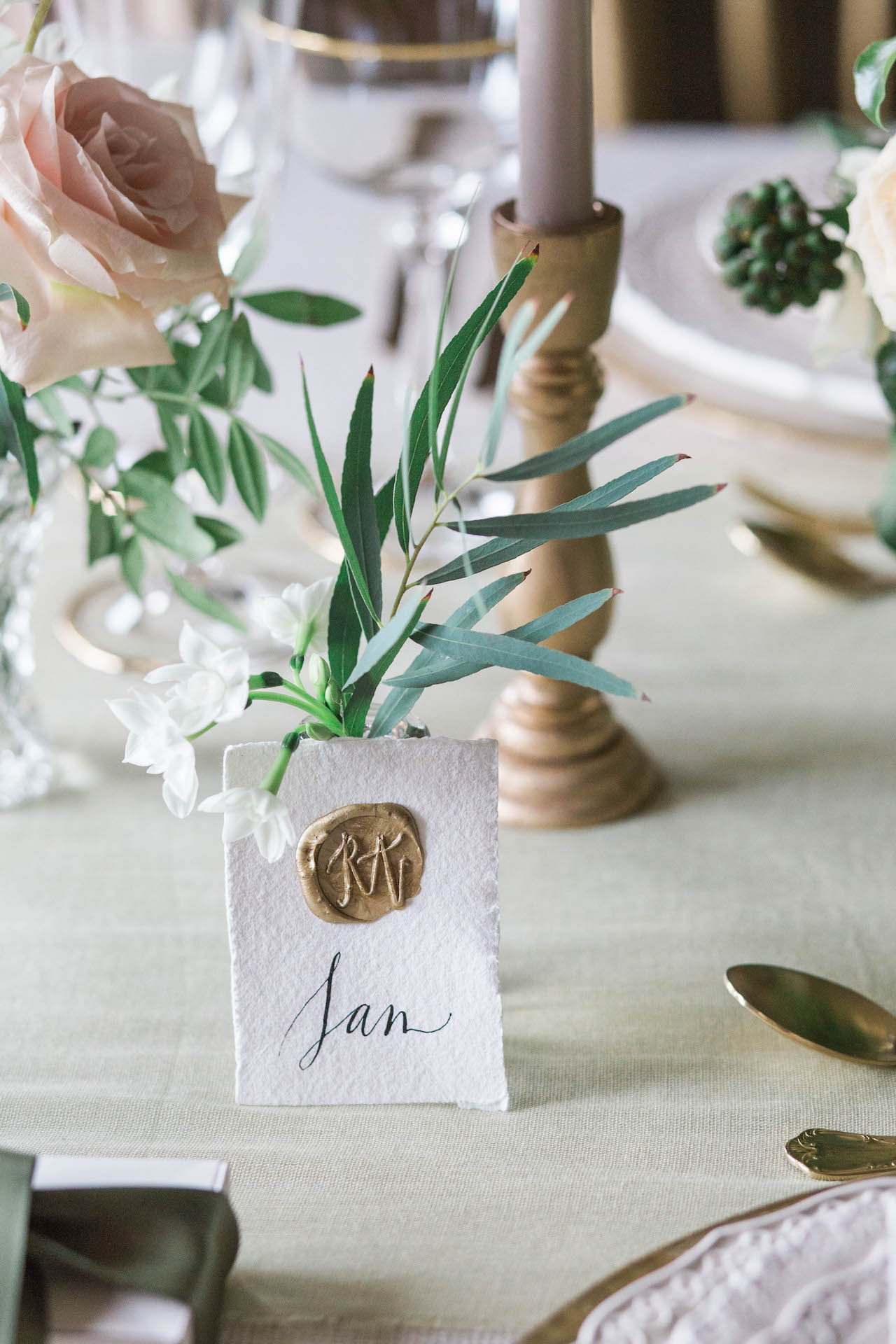 single place card with wax seal