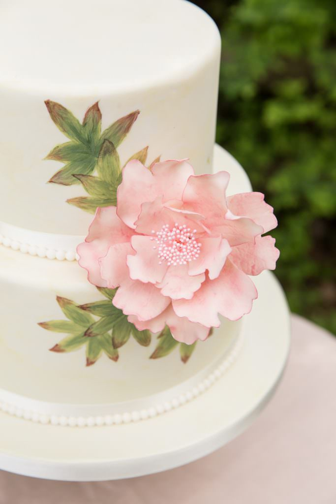 hand painted two tiered wedding cake