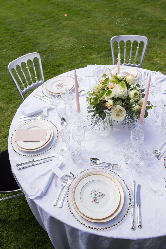 side and corner of downton style garden party wedding table designed by Kimberley Rose Designs