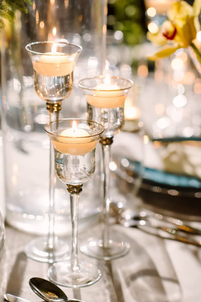 romantic candlelit wedding reception in surrey