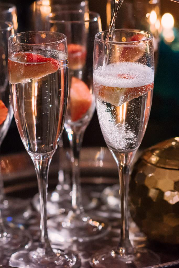 Champagne cocktails for wedding reception