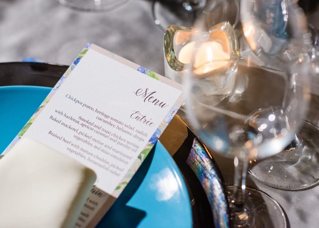 menu card at place setting