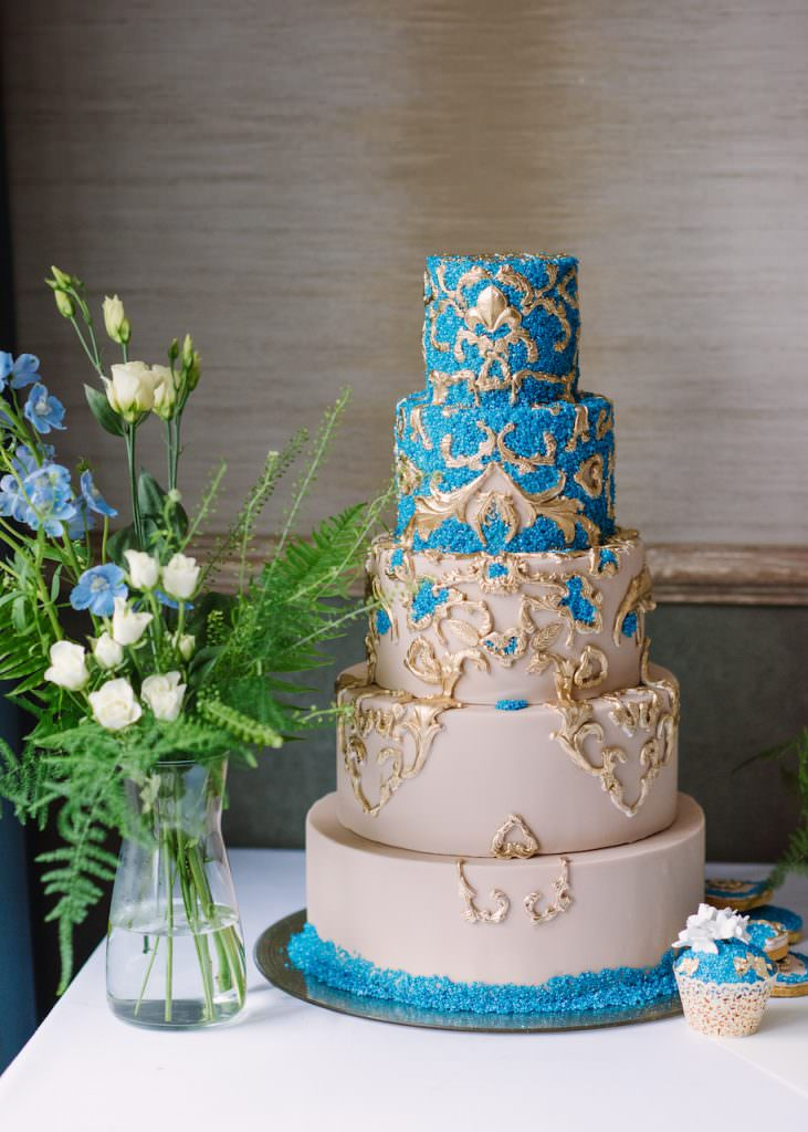 fashion inspired teal blue and nude 5 tier wedding cake