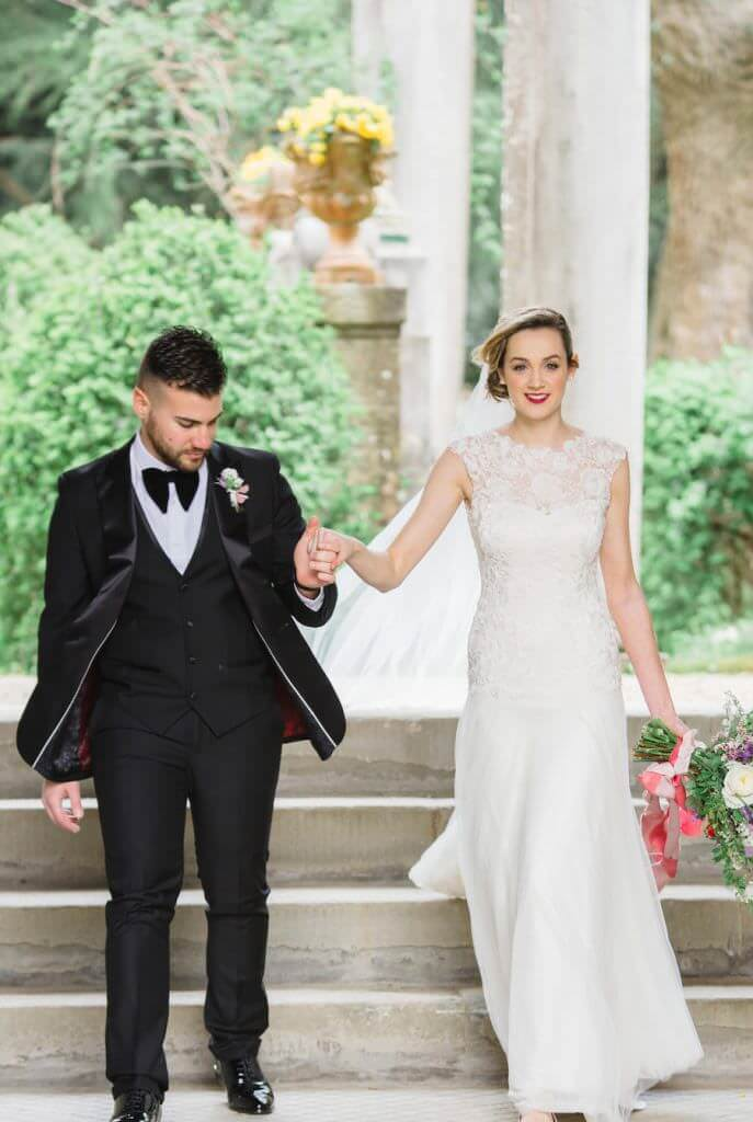 bride and groom at destination wedding in Tuscany, Italy, planned by Kimberley Rose Designs