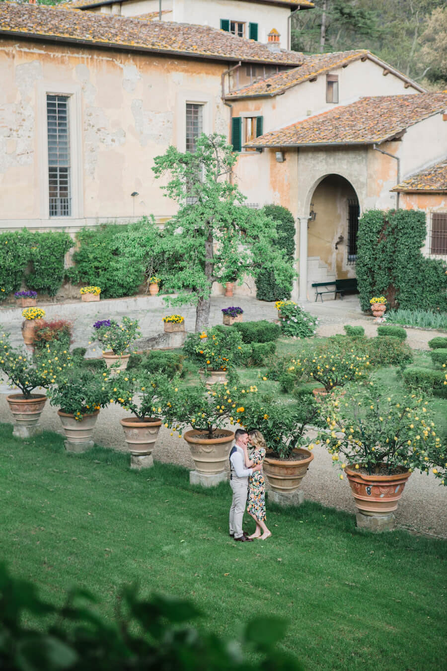 lemon garden on the grounds of villa pazzi tuscany wedding venue