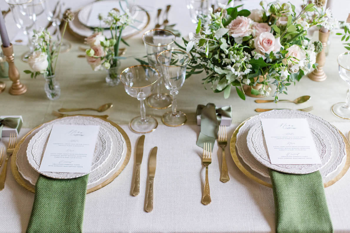 beautiful setting for wedding breakfast with sage green accents designed by Kimberley Rose Designs