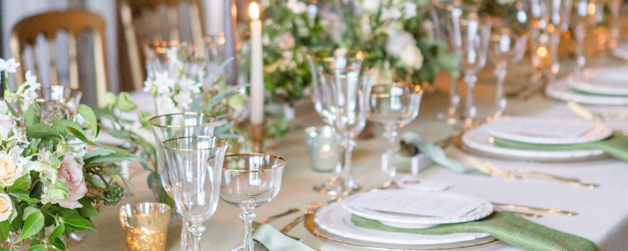 closeup of beautiful wedding breakfast setup