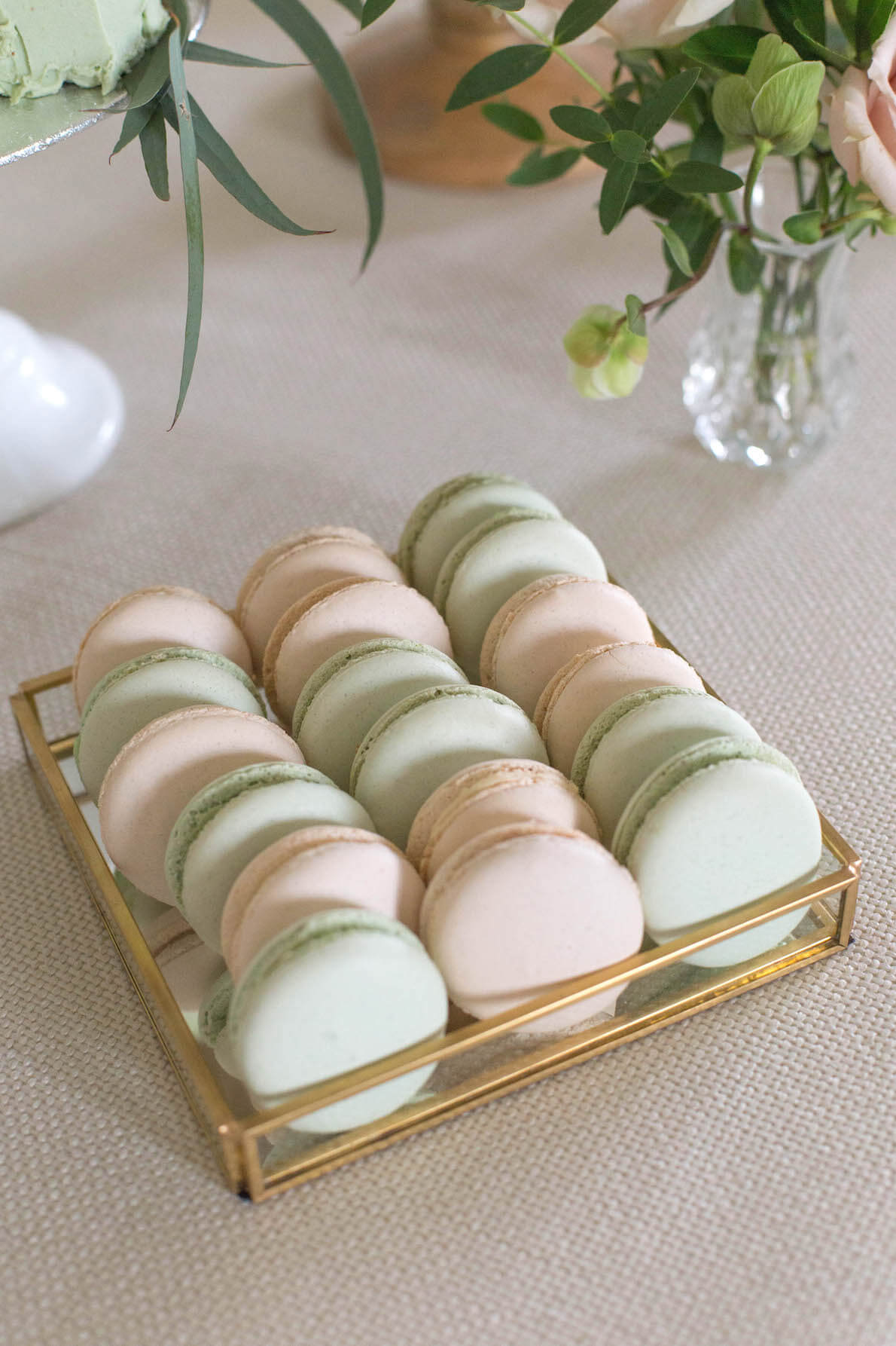 sage and taupe macaroons