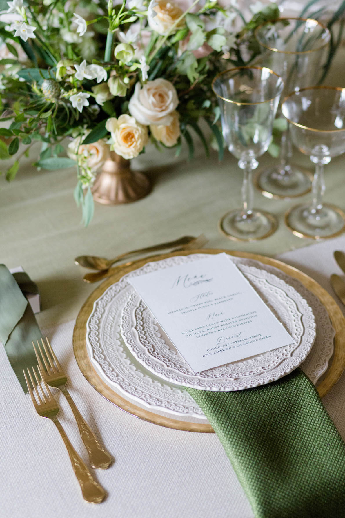 single place setting with menu cards