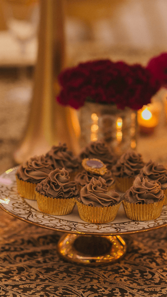 cupcakes at wedding reception at meridian grand