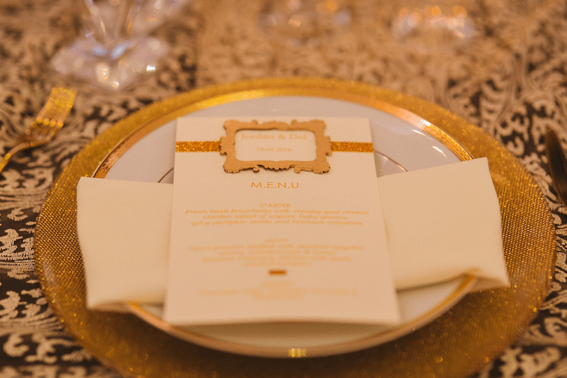 single place setting at wedding reception at meridian grand