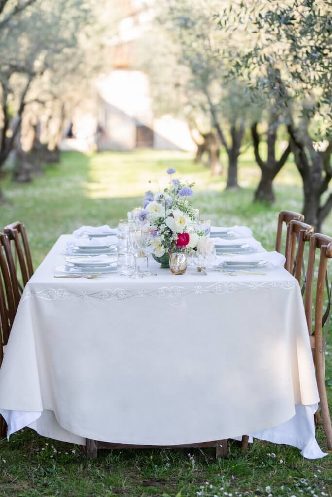 wedding reception setup on the grounds of villa pazzi wedding venue in tuscany